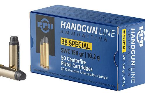 PPU PPH38SS Handgun 38 Special 158 gr Semi Wadcutter (SWC) 50/Box