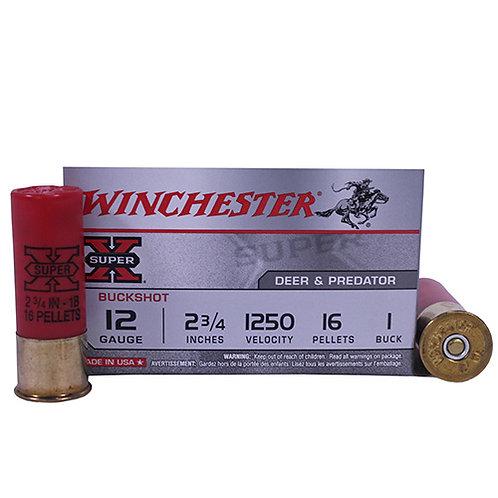 """Winchester Ammo XB121 Super-X 12 Gauge 2.75"""" 16 Pellets 1 Buck Shot 5/Box"""
