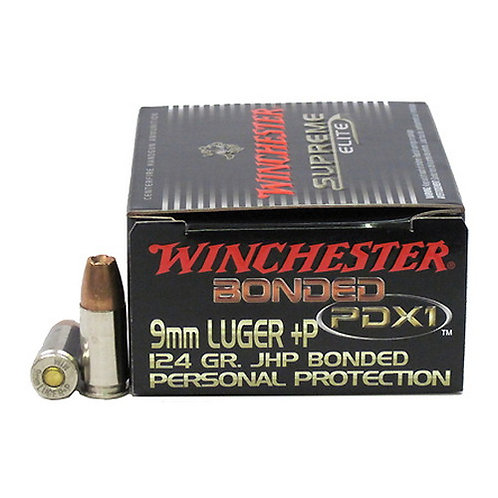 Winchester Ammo Defender 9mm Luger +P 124 gr Bonded Jacket Hollow Point 20/Box