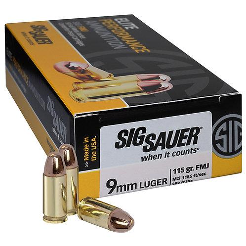 Sig Sauer E9MMB150 Elite Ball 9mm Luger 115 gr Full Metal Jacket (FMJ) 50/Box