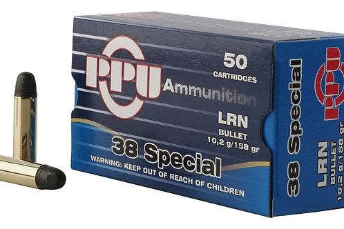 PPU PPH38SL Handgun 38 Special 158 gr Lead Round Nose (LRN) 50/Box