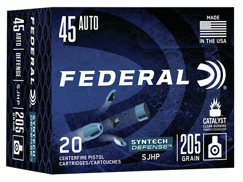 Federal Syntech Defense 45 ACP 205 gr Segmented Jacketed Hollow Point 20/Box