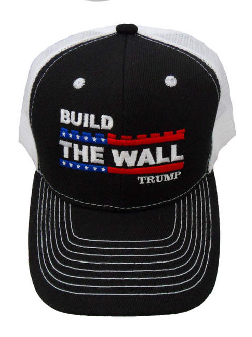 Build The Wall Trump Mesh Cap - Black/White