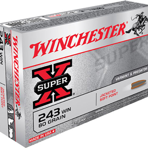 Winchester Ammo X2431 Super-X 243 Win 80 gr Pointed Soft Point (PSP) 20/Box