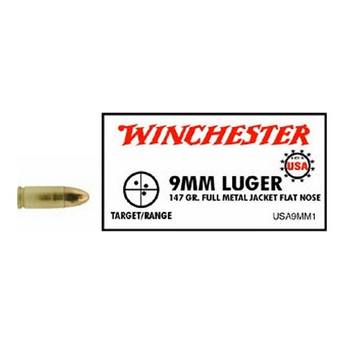 Winchester Ammo USA9MM1 USA 9mm Luger 147 gr Full Metal Jacket (FMJ) 50/Box