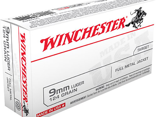 Winchester Ammo USA9MM USA 9mm Luger 124 gr Full Metal Jacket (FMJ) 50/Box