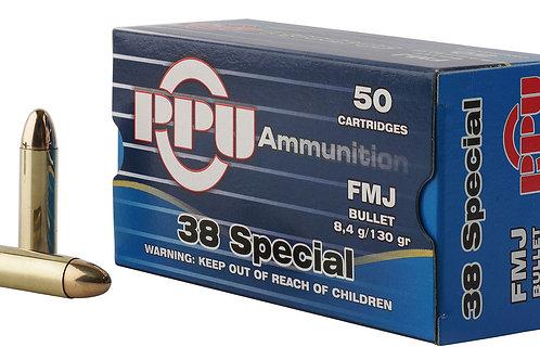 PPU PPH38SF Handgun 38 Special 130 gr Full Metal Jacket (FMJ) 50/Box