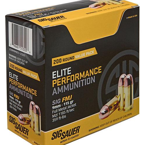 Sig Sauer E9MME1200 Elite Ball 9mm Luger 115 gr Full Metal Jacket (FMJ) 200/Box
