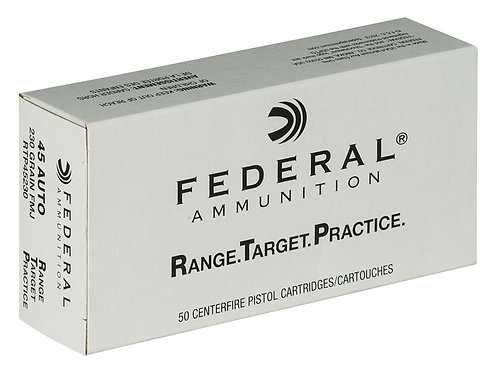Federal RTP45230 Range and Target 45 ACP 230 gr Full Metal Jacket (FMJ) 50/Box