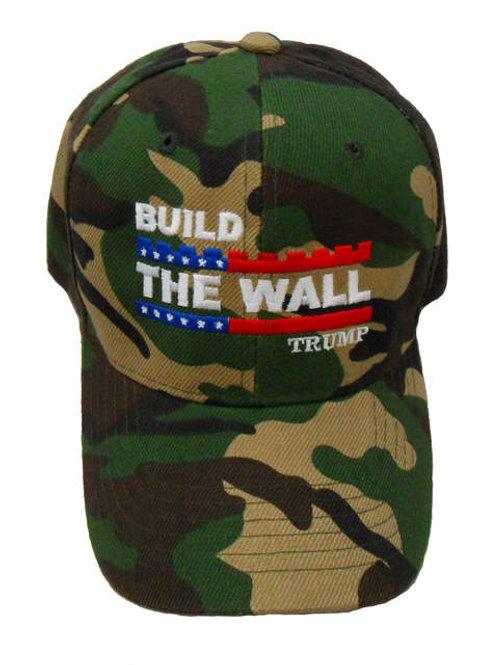 Build The Wall Trump Cap - Green Camo
