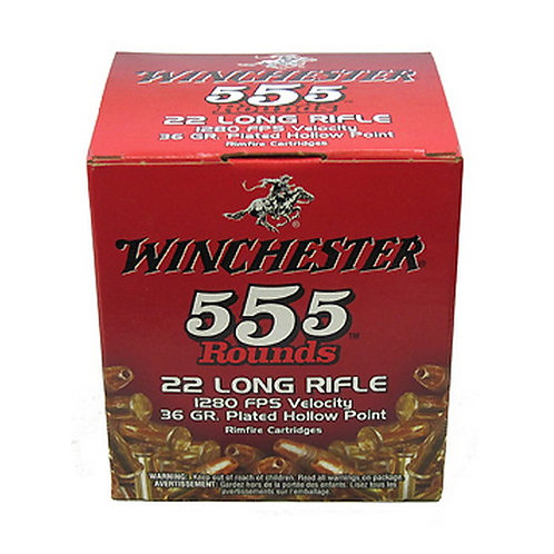 Winchester Ammo 22LR555HP USA 22 LR 36 gr Copper Plated Hollow Point 555/Box