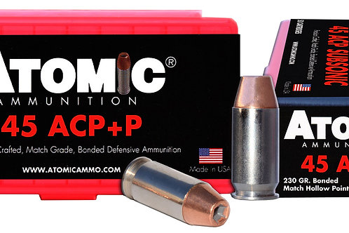 Atomic 00433 Pistol 45 ACP +P 230 gr Bonded Match Hollow Point 50/Box