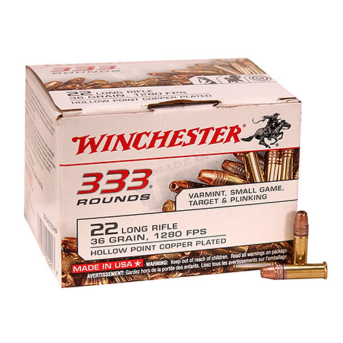 Winchester Ammo 22LR333HP USA 22 LR 36 gr Copper Plated Hollow Point 333/Box