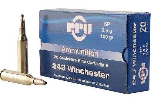PPU PP2432 Standard Rifle 243 Win 100 gr Soft Point (SP) 20/Box