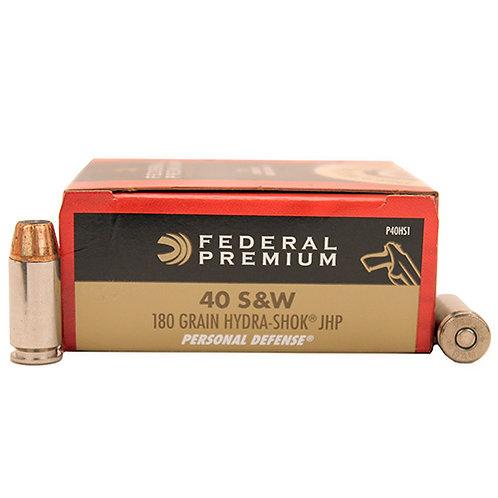 Federal Premium Personal Defense 40 S&W 180 GR Hydra-Shok (JHP) 20/Box