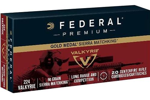 Federal GM224VLK1 Gold Medal 224 Valkyrie 90 gr Sierra MatchKing BTHP 20/Box