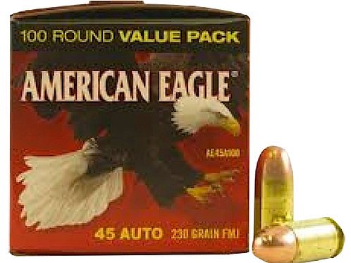Federal AE45A100 American Eagle 45 ACP 230 gr Full Metal Jacket (FMJ) 100/Box