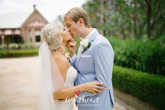 Bride and Groom on their Wedding Day sharing a kiss