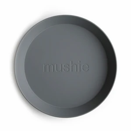 Mushie Round Plates - Set of 2 - Smoke
