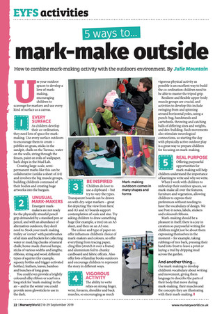 5 ideas for mark-making outdoors