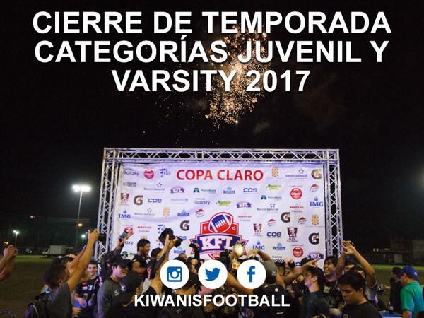 Cierre de Temporada 2017. Categorías Juvenil y Varsity.