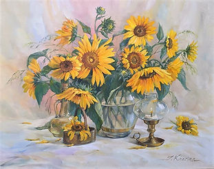 Sunflowers with the oil bottle.jpg