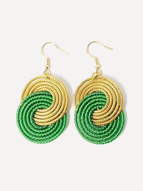 Green Caracol Earrings