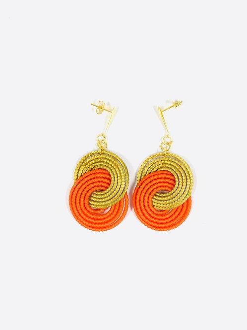Orange Caracol  Earrings