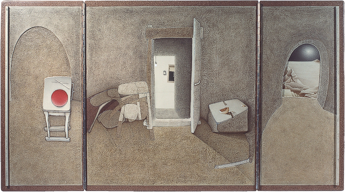 Night departure (triptych, open)