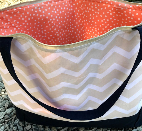 Large Tote - Tan Chevron