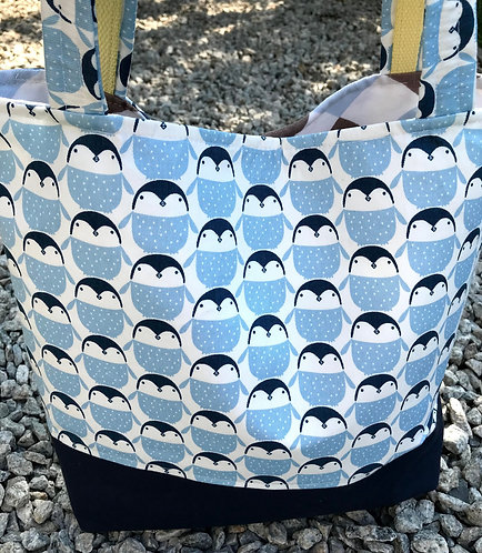 Everyday Tote - Blue Penguins