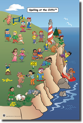 Spelling at the Cliffs Thematic Poster