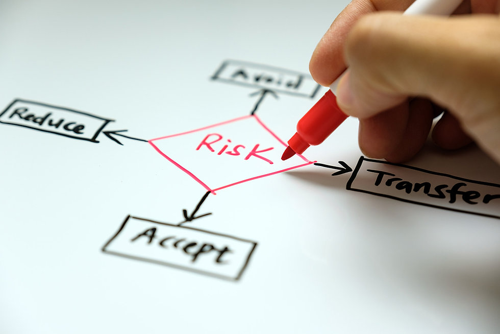 Risk diagram highlightingchoices of reduce, avod, accept or transfer