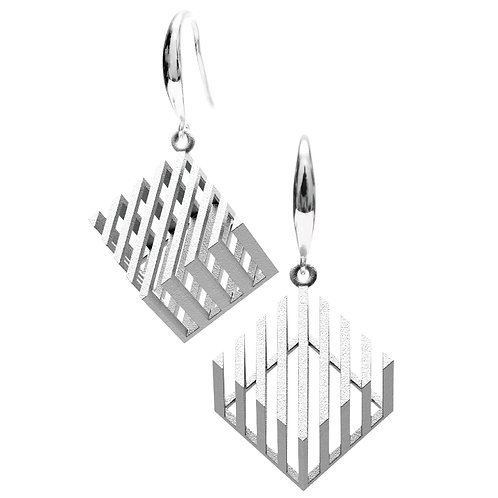 Op Cube Earring (Rhodium Plated) | illusion Collection