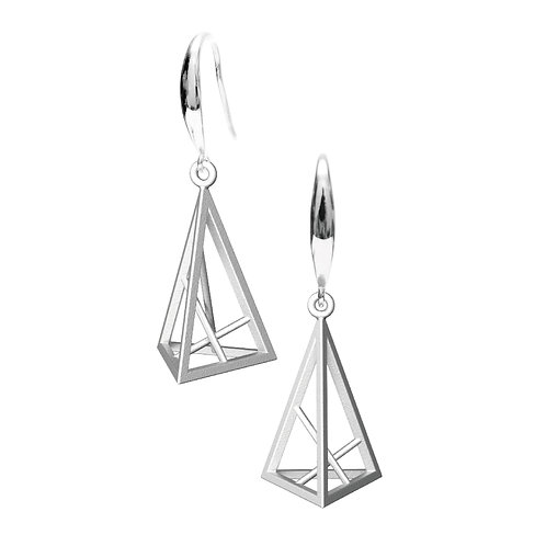 Spacing Triangle Earrings S Size (Rhodium Plated) | Sense of Space Collection