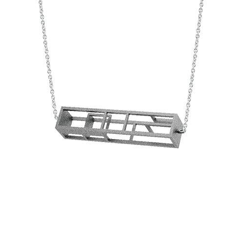 Spacing Rectangle Necklace (Grey) | Sense of Space Collection