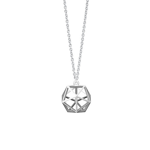 Spacing Icosahedron Necklace (Rhodium Plated) | Sense of Space Collection