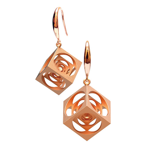 Turner's Cube Earrings (14K Rose Gold Plated) | Scaling Collection