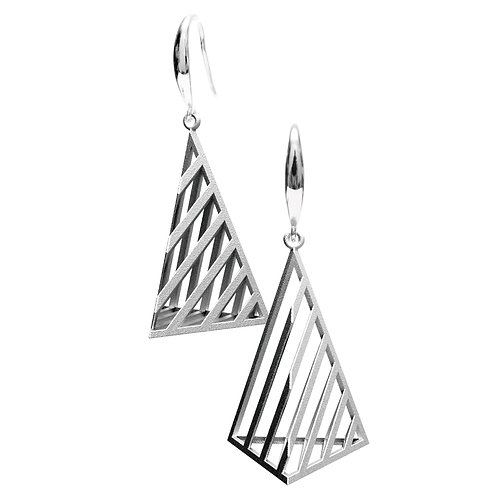 Op Triangle Earring L Size (Rhodium Plated) | illusion Collectio