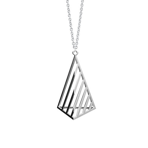 illusion Triangle Necklace L Size (Rhodium Plated) | illusion Collection