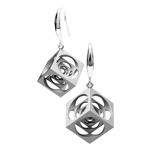 Turner's Cube Earrings (Rhodium Plated) | Scaling Collection