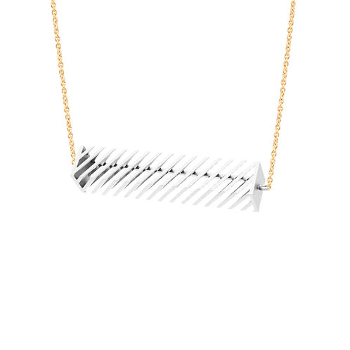 Op Rectangle Necklace (White) | illusion Collection