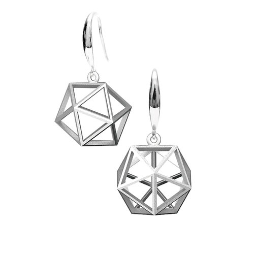 Spacing icosahedron Earrings (Rhodium Plated) | Sense of Space Collection