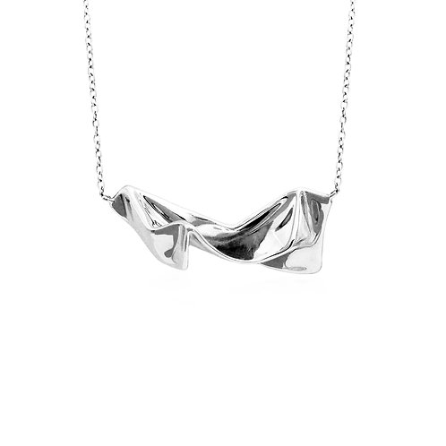 Wrinkle Cloth Necklace | Silver