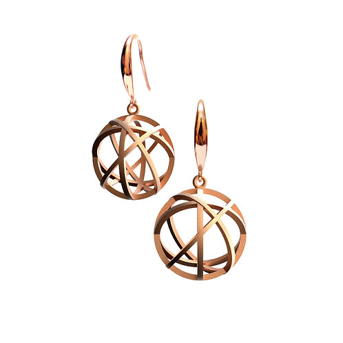 Spacing Sphere Earrings (14K Rose Gold Plated) | Sense of Space Collection