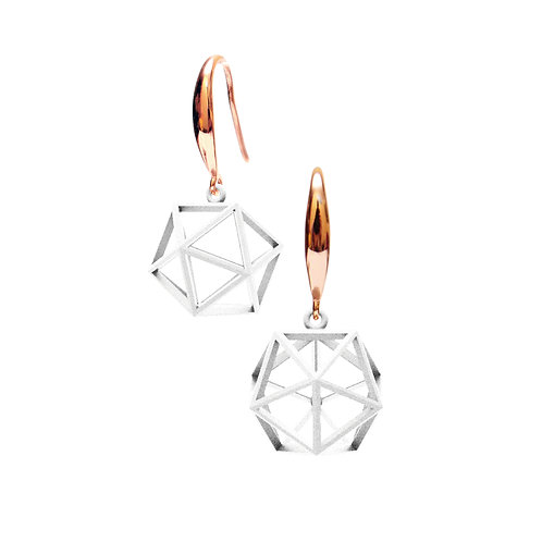 Spacing icosahedron Earrings (White) | Sense of Space Collection