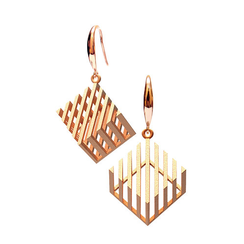 Op Cube Earring (14K Rose Gold Plated) | illusion Collection