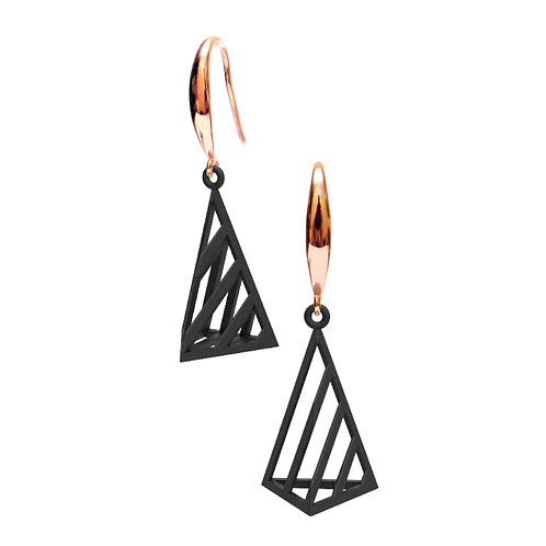 Op Triangle Earring S Size (Black) | illusion Collection