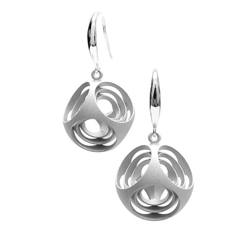Turner's Rounded Cube Earrings (Rhodium Plated) | Scaling Collection