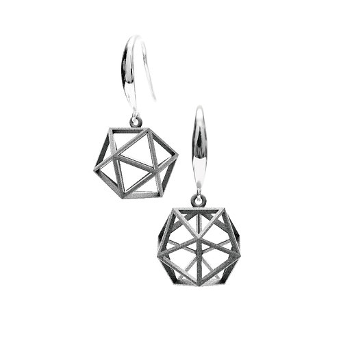 Spacing icosahedron Earrings (Grey) | Sense of Space Collection